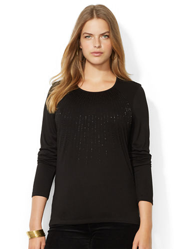 LAUREN RALPH LAUREN Plus Beaded Crewneck Top