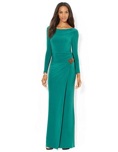 Shop Lauren Ralph Lauren online and buy Lauren Ralph Lauren Jersey Side Draped Evening Gown dress online