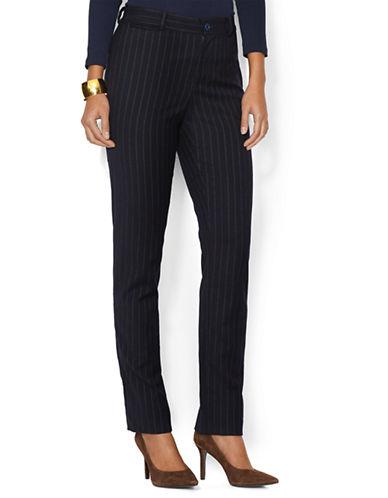 LAUREN RALPH LAURENPlus Cotton and Wool Blend Pinstriped Pants