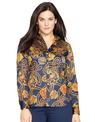 LAUREN RALPH LAURENPlus Medallion Print Cotton Shirt