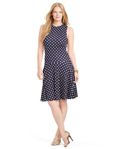 LAUREN RALPH LAURENPlus Polka Dot Drop Waist Dress