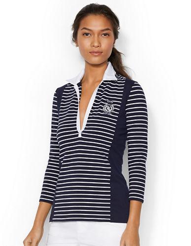 LAUREN RALPH LAURENOpen-Placket Striped Polo Shirt