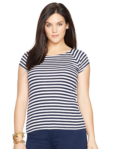 LAUREN RALPH LAURENPlus Striped Ballet Neck Shirt