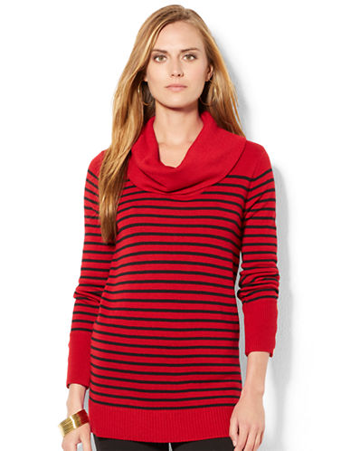 LAUREN RALPH LAUREN Striped Wool-Blend Cowlneck Sweater