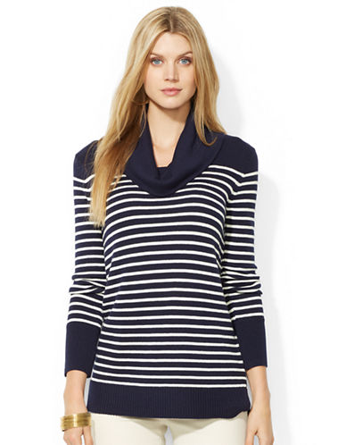 LAUREN RALPH LAUREN Petite Striped Wool Blend Cowlneck Sweater