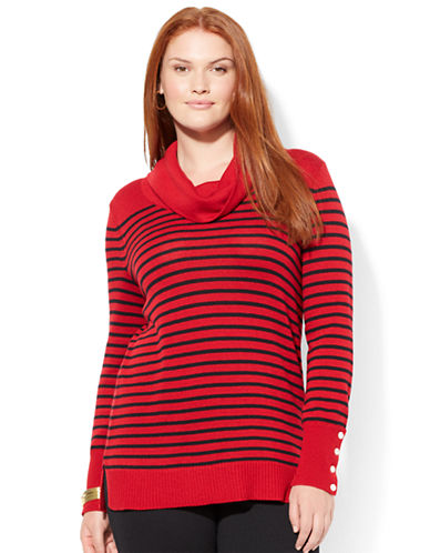 LAUREN RALPH LAUREN Plus Striped Wool Blend Cowlneck Sweater