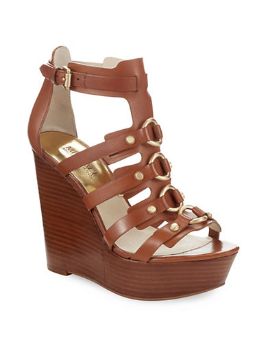 MICHAEL MICHAEL KORS Nadine Platform Leather Wedge Sandals
