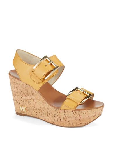 Michael Michael Kors Warren Leather Platform Wedge Sandals