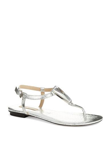 Michael Kors Hanne Embossed T-Strap Sandals