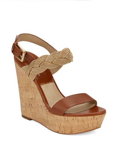MICHAEL KORSAmelia Chain and Leather Platform Wedge Sandals