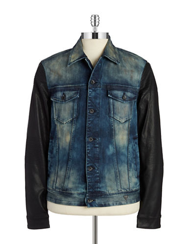 GUESS Dillon Faux Leather-Accented Denim Jacket
