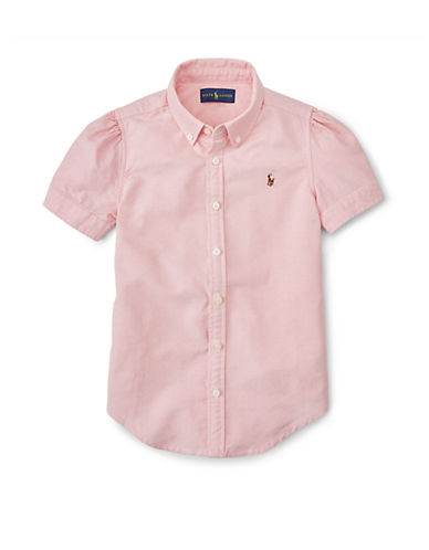 RALPH LAUREN CHILDRENSWEAR Girls 7-16 Short Sleeve Oxford Shirt