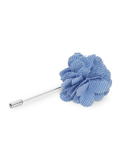Checked Flower Lapel Pin
