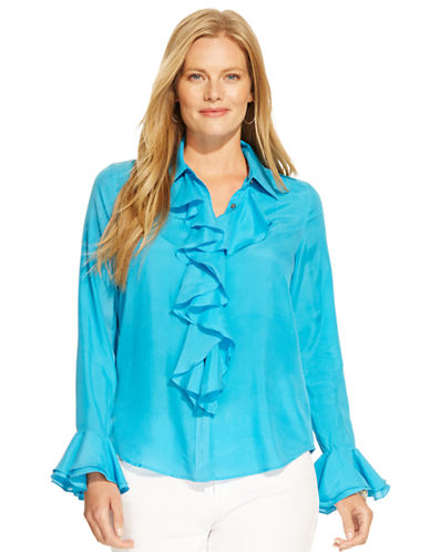 Lauren Ralph Lauren Plus Ruffled Silk Blouse