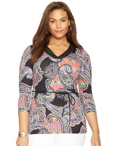 Lauren Ralph Lauren Plus Paisley V-Neck Shirt
