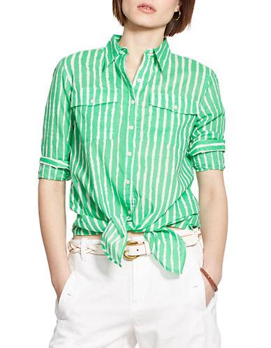 LAUREN RALPH LAURENPetite Striped Tied-Hem Voile Shirt