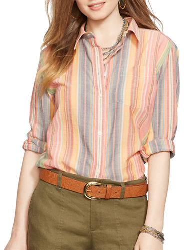 LAUREN RALPH LAUREN Petite Striped Cotton Collar Shirt
