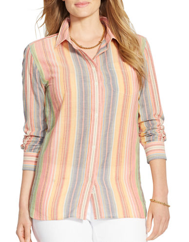 LAUREN RALPH LAUREN Plus Striped Cotton Collar Shirt