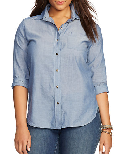 LAUREN RALPH LAUREN Plus Chambray Cotton Shirt