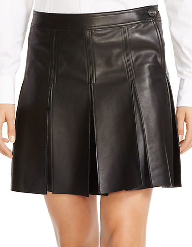 POLO RALPH LAURENPleated Leather Skirt