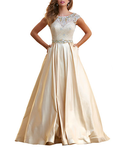 Mac Duggal Capsleeve Lace Evening Gown $449.25 AT vintagedancer.com