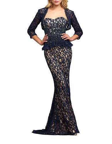 Peplum Waist Lace Gown $384.30 AT vintagedancer.com