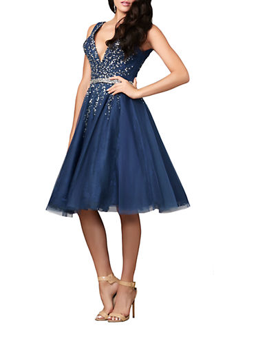 MAC DUGGALBeaded Lace Fit and Flare Dress
