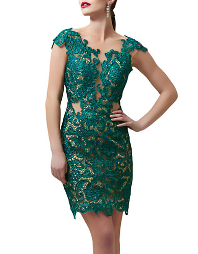 Shop Mac Duggal online and buy Mac Duggal Lace Embroidered Illusion Dress dress online