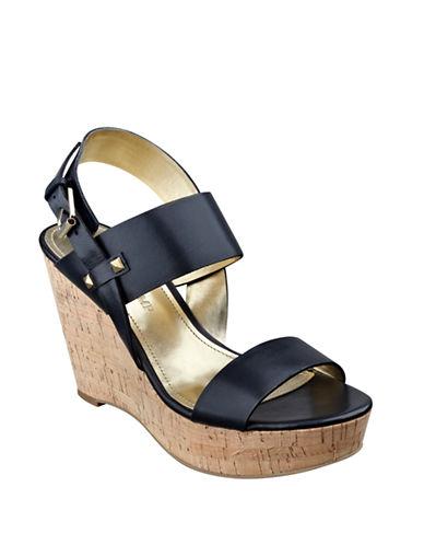 Ivanka Trump Gareno Leather Platform Wedge Sandals