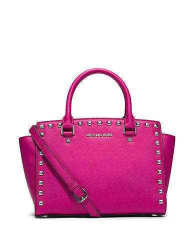 MICHAEL MICHAEL KORSSelma Studded Saffiano Leather Medium Satchel Bag