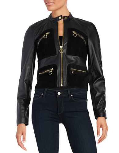 Michael Michael Kors Mixed Media Leather and Suede Moto Jacket