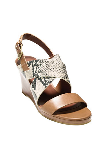 cole haan female penelope leather snakeembossed wedge sandals