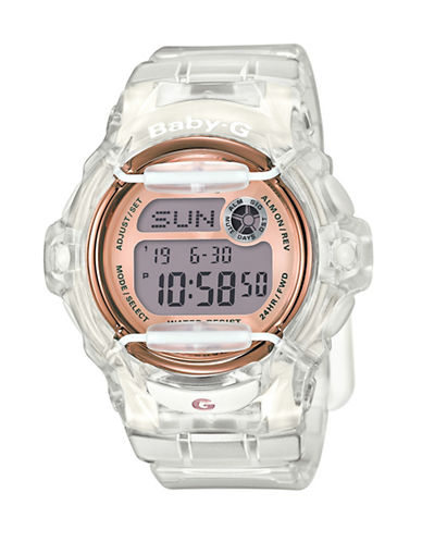 Baby-G Clear Resin and Rose Goldtone Quartz Digital Watch