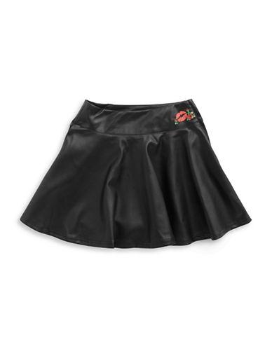 Betsey Johnson Girls 7-16 Leatherette Rose Accented Skirt