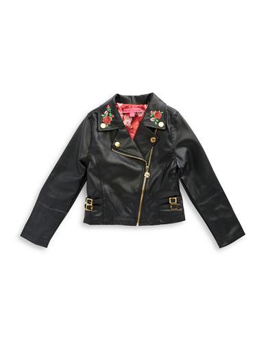 Betsey Johnson Girls 7-16 Asymmetric Leatherette Jacket