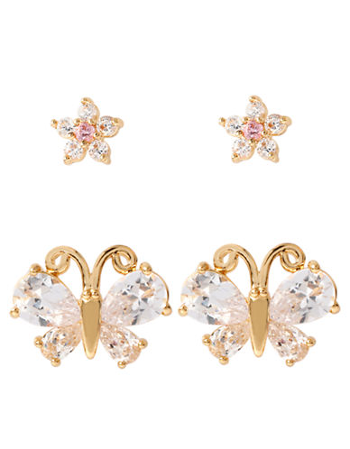BETSEY JOHNSON Glitz Flower and Butterfly Earring Duo