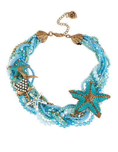 Betsey Johnson Into The Blue Starfish Braided Bead Collar Necklace