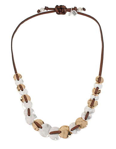 ROBERT LEE MORRIS SOHO Boho City Hammered Disc Leather Necklace
