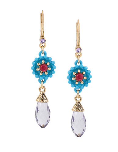 BETSEY JOHNSON Weave and Sew Flower and Faceted Bead Double Drop Earrings