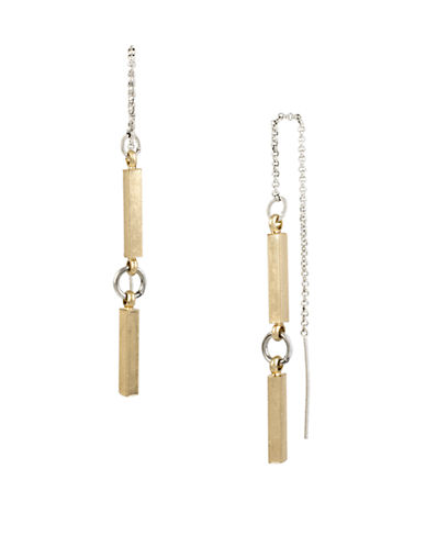 KENNETH COLE NEW YORK Mixed Metal Beaded Threader Drop Earrings