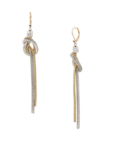KENNETH COLE NEW YORK Mixed Metal Double Chain Knot Earrings