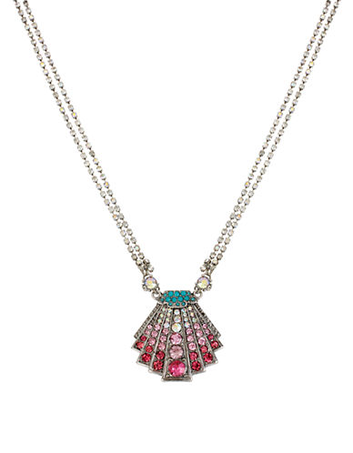 Betsey Johnson Ocean Drive Pave Crystal Shell Pendant Necklace
