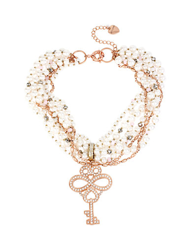 BETSEY JOHNSON Pave Key Pendant and Faux Pearl Torsade Necklace