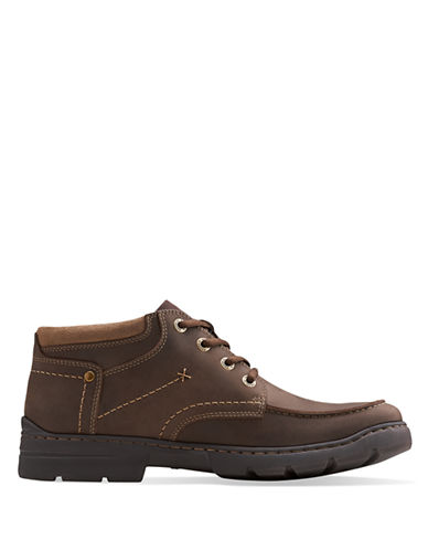 CLARKS Newburn Leather Low Ankle Boots