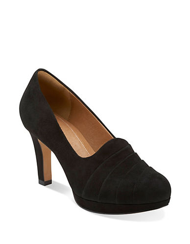 CLARKS Delsie Joy Suede Pleated Pumps