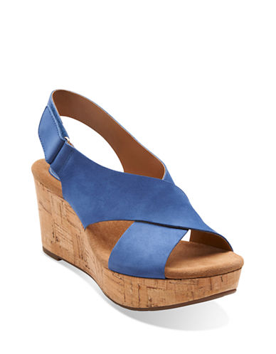 CLARKSCaslynn Shae Leather Open-Toe Wedge Sandals
