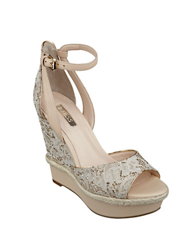 GUESS Odin Lace Wedge Sandals
