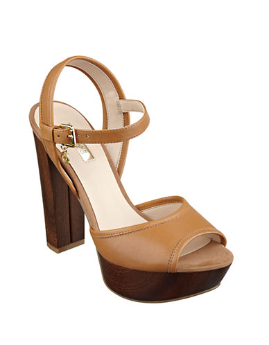 GUESS Pursey Leather Peep Toe Platform Sandals