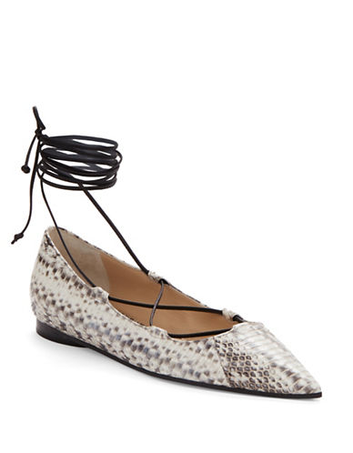 michael kors female  kallie snakeskin and leather laceup flats