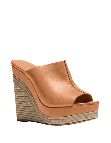 michael kors female  charlize leather open toe wedges